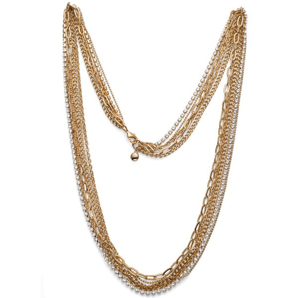 گردنبند کریستال مدل زنجیر طلایی