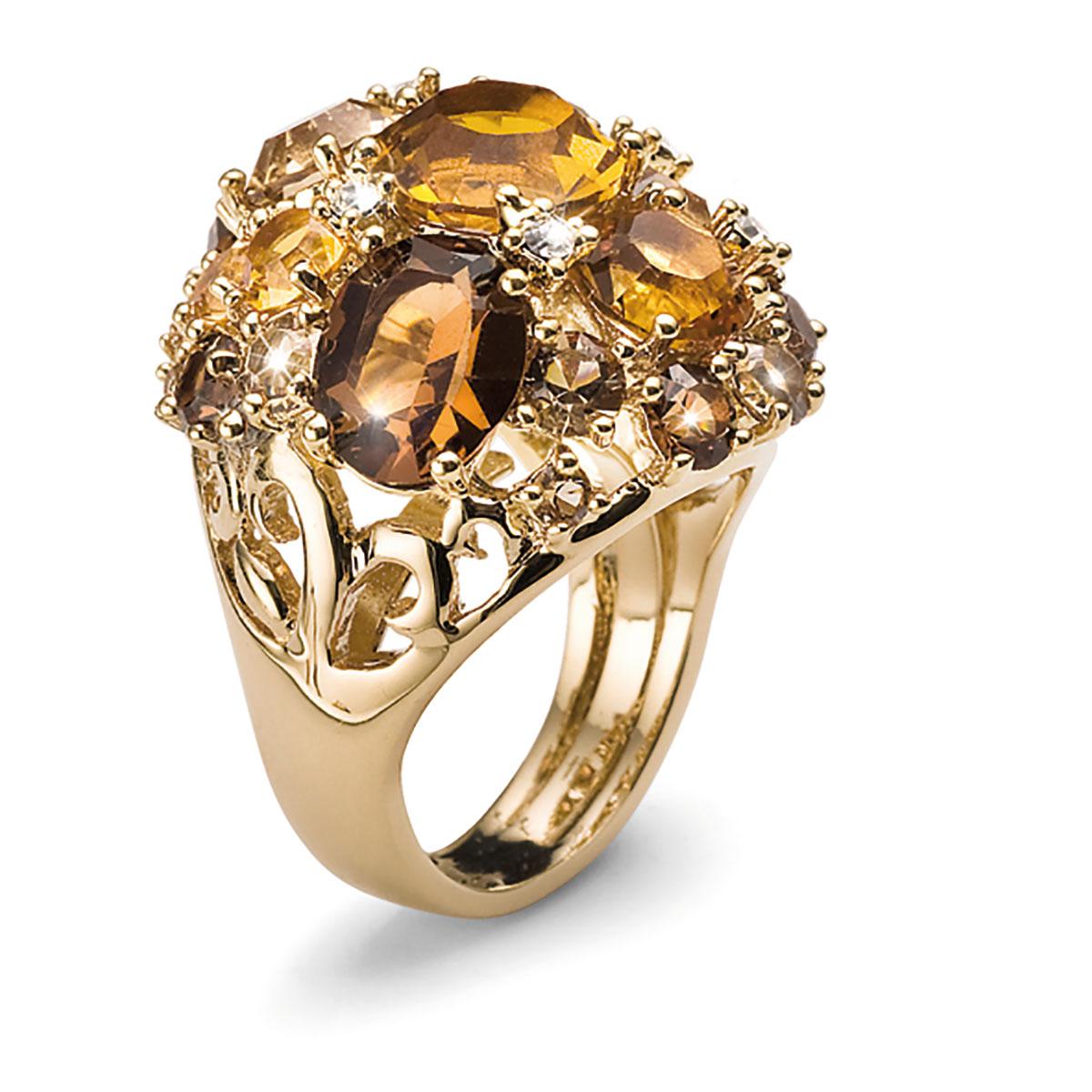 انگشتر توپاز طلایی مدل اسپاتی