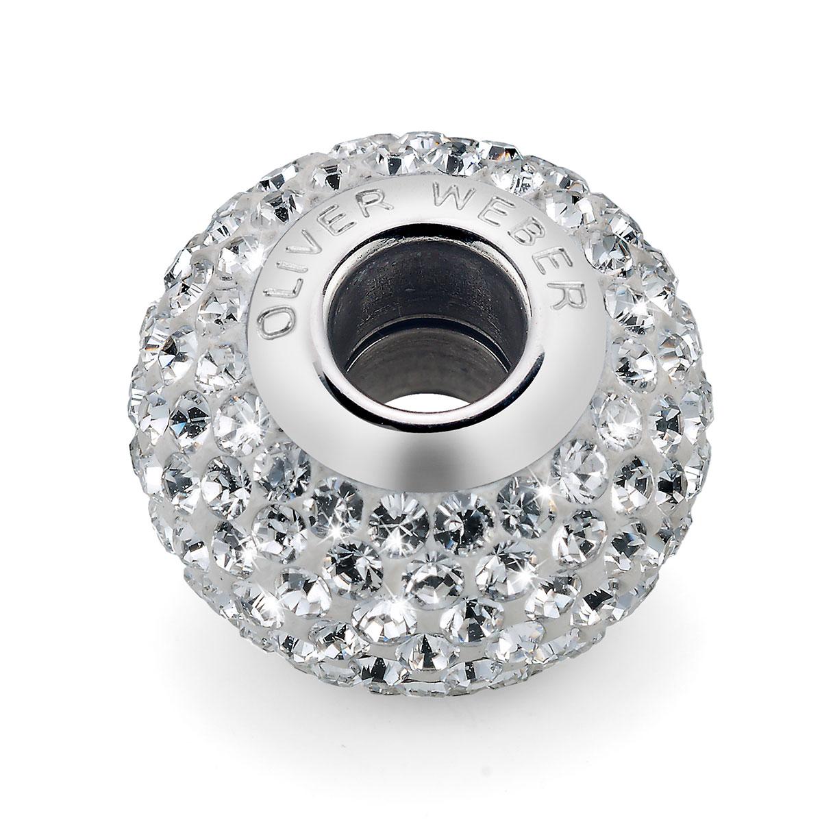 مهره دستبند استیل و کریستال مدل شاین سفید