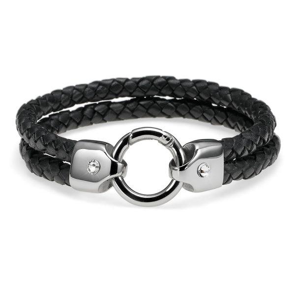 دستبند مردانه استیل و چرم مدل بافته