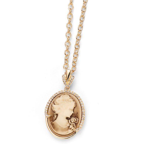 آویز ساده کریستال طلا مدل کامئو