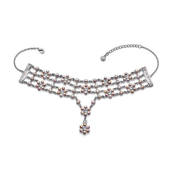 گردن بند کریستال مدل شکوفه رنگی