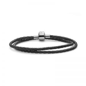 دستبند چرم دو حلقه ای ویژه آویز مهره