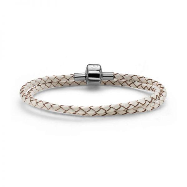 دستبند چرم دو حلقه ای ویژه آویز مهره سفید